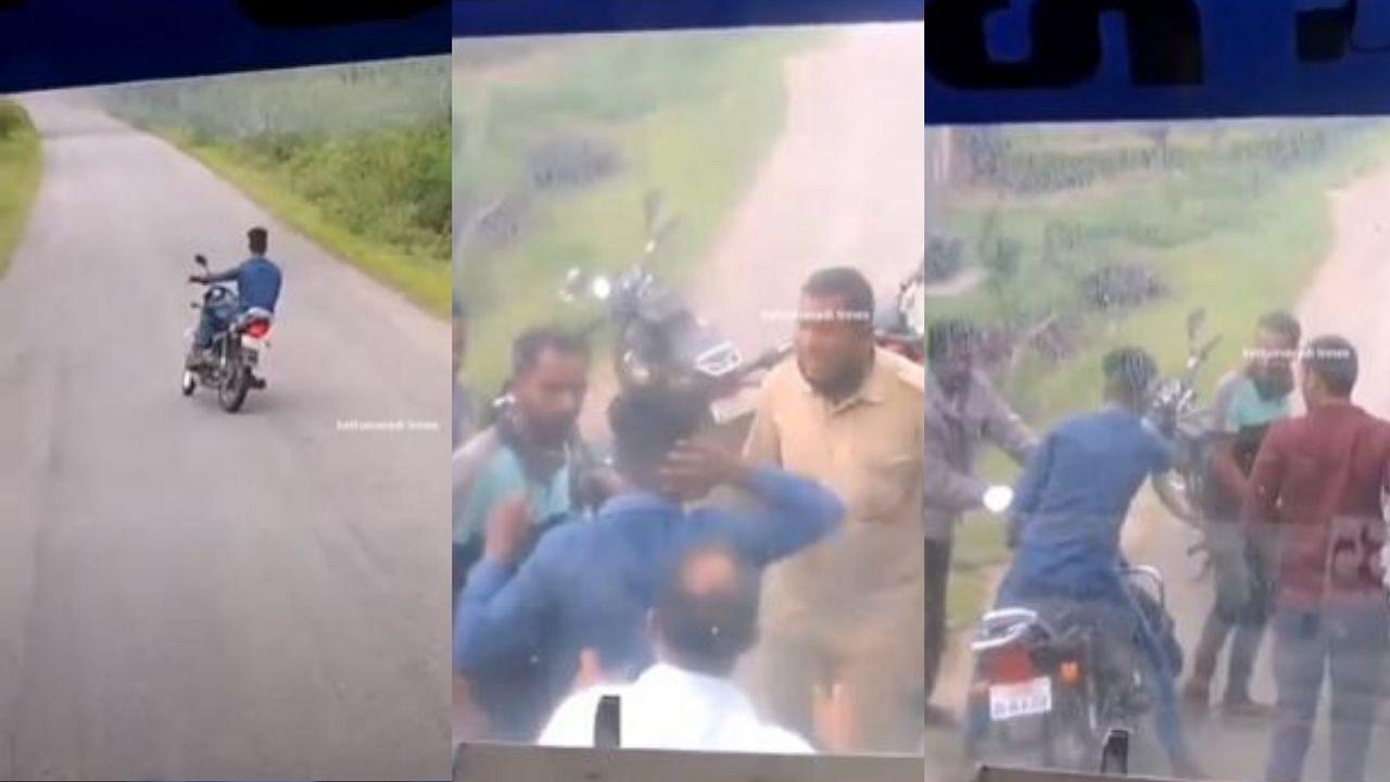 हीरो स्प्लेंडर चला रहे इस युवा ने सरकारी बस को 4 km तक रोका, अंत में पब्लिक ने उतरकर कर दी धुनाई, देखें VIDEO